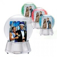 Light Up Silver Snow Globe