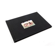 A4 - 29.7 cm x 21 cm Landscape Black Cloth with window