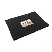 A4 - 29.7 cm x 21 cm Landscape Black Cloth with window