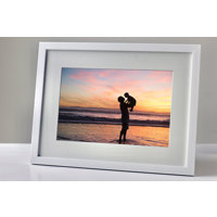 200x250mm White Frame - Horizontal (20mm) with 50mm Snow White cut-out mount over a 100x150mm print.