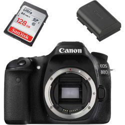 Canon-EOS 80D Digital SLR Camera - Body Only with 128GB SD Card and LP-E6N Battery-Digital Cameras