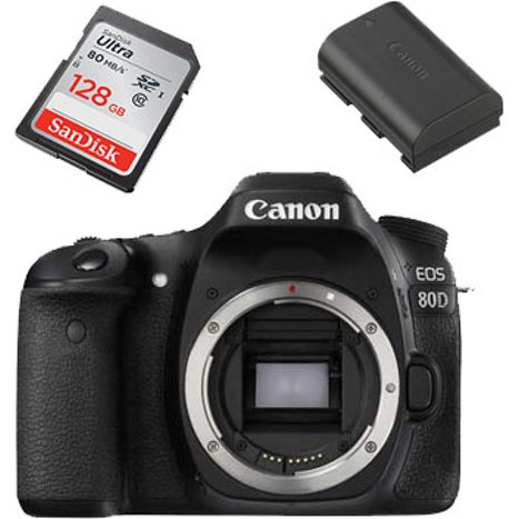 Canon EOS 80D Digital SLR Camera - Body Only with 128GB SD Card and LP-E6N  Battery
