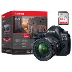 Canon-EOS 5D Mark IV with EF 24-70mm F4.0 L IS USM Lens, 128GB Memory Card and Premium Accessory Kit - Black-Digital Cameras