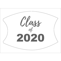 White/Grey Custom Class of 2020 Face Mask (Lg/Adult)