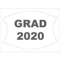 White/Grey Custom Grad 2020 Face Mask (Lg/Adult