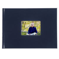 8.5 x 11.5 Leather Hardcover Photo Book with Keyhole (Blue)