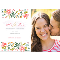 5x7 - Flat Photo Card - Floral - 1 Sided Save the Date