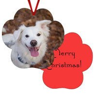 Paw Print Gloss White Ornament Double Sided