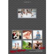 Gray Folded - 2 Sided Happy Holidays 5x7 H