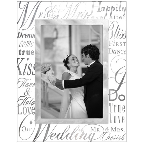 Malden-4x6 Mr and Mrs Metallic Glass-Photo Frames