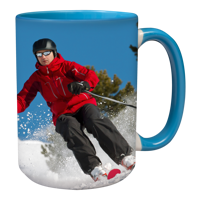 15oz Blue Handle & Inner Photo Mug