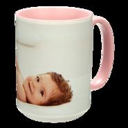 15 oz. Colorful Ceramic Pink Photo Mug