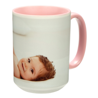 15 oz. Colorful Ceramic Pink Photo Mug