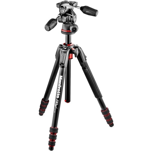 Manfrotto-190 Go! Kit Alu Black 4 Sec w/ Twist Locks & 3-Way Head #MK190GOA4TB-3W-Tripods & Monopods