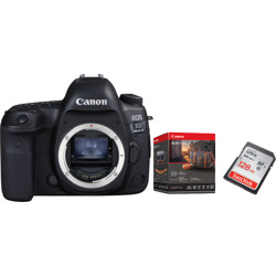 Canon-EOS 5D Mark IV - Body Only with Premium Accessory Kit and 128GB Memory Card - Black-Digital Cameras