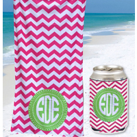 Gift Set: Personalized Beach Towel + Matching Can Koozie