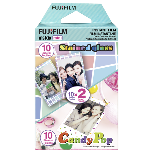 Fujifilm-Instax Mini Party Pack film (Stained Glass & Candy Pop) - 2 Packs of 10 Sheets-Film