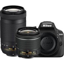 Nikon-D3400 Digital SLR Camera with AF-P DX 18-55mm VR and AF-P DX 70-300mm ED Lenses - Black-Digital Cameras