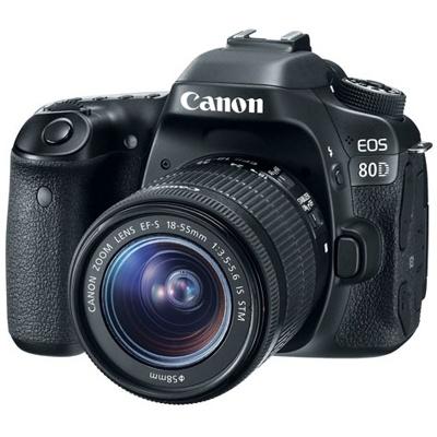 Canon-EOS 80D Digital SLR Camera with EF-S 18-55mm IS STM Lens - Black-Digital Cameras