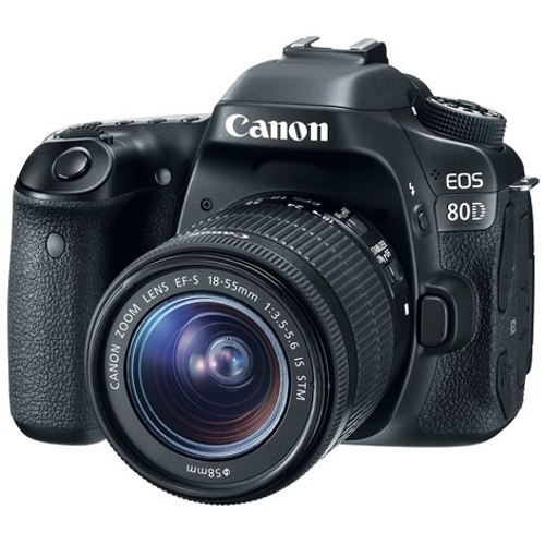 Canon-EOS 80D Digital SLR Camera with EF-S 18-55mm IS STM Lens - Black-Digital Cameras