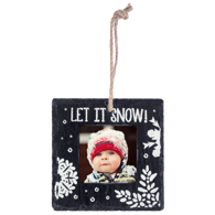 Slate Square Ornament, Let it Snow