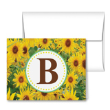 Sunflower Madness Monogram Note Cards