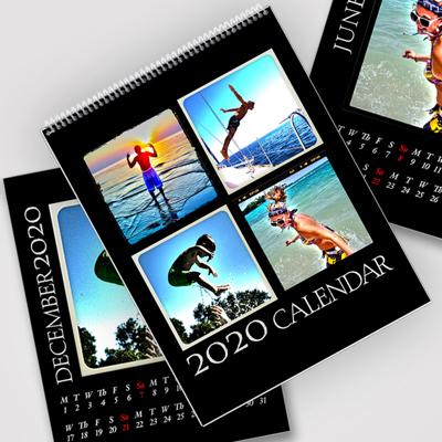 8.5 x 11 Black Background 2020 Spiral Calendar