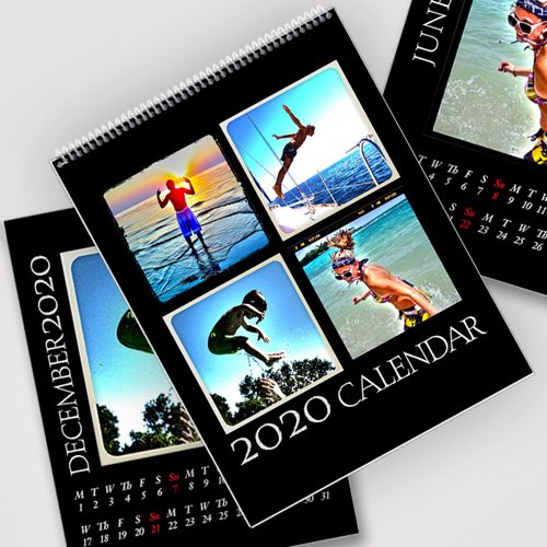 8.5 x 11 Black Background 2020 Spiral Calendar