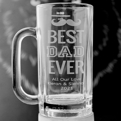 Beer Glass : Best Dad Ever + message - 500ml