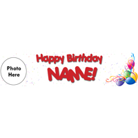 Birthday Banner White Photo Left