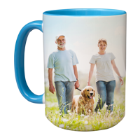 15oz Blue Handle & Inner Photo Mug - 2 images