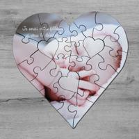 """Casse-tête 25 morceaux en forme de coeur avec 1 photo (6,75""""x6,5"""")"""