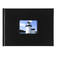 8.5 x 11.5 Leather Hardcover Photo Book with Keyhole (Black)