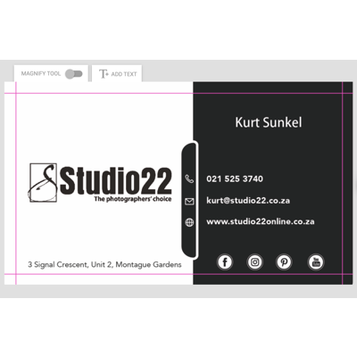 Single Sided Cards -50x90mm