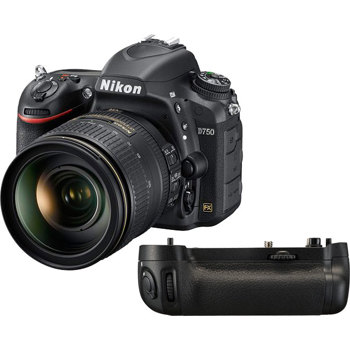 D750 DSLR Camera with AF-S NIKKOR 24-120mm f/4G VR Lens and MB-D16 Multi  Power Battery Pack - Black