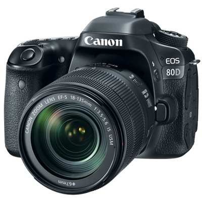 Canon-EOS 80D Digital SLR Camera with EF-S 18-135mm IS USM Lens- Black-Digital Cameras