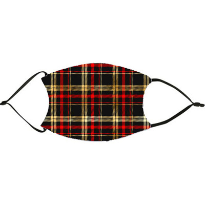 Black Red Gold Plaid Christmas Face Mask