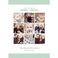 Mini Mint Stripes Collage: 10pk Holiday Cards
