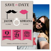 Retro - 2 Sided Save the Date  5x7