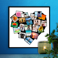 12 x 12 Heart Collage Print - 20 photos