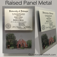 University of Dubuque raised metal Diploma 8x10 on 12x18