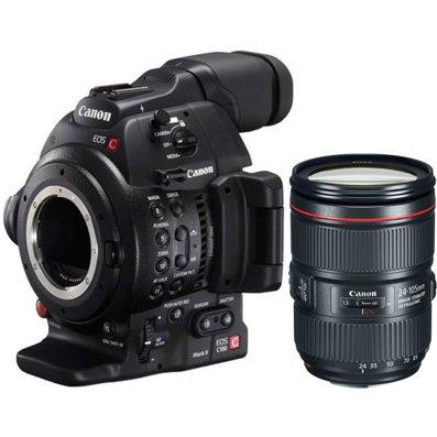 Canon EOS C100 Mark II Cinema Camera with EF 24-105mm F4L IS II USM Lens -  Black