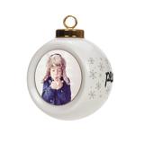 Ceramic Globe Ornament, Peace Love Joy