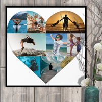 500x500mm Heart Collage (8 photos) Photo Print