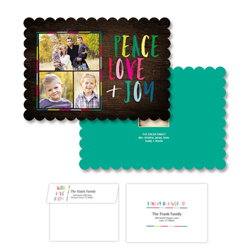 Peace Love & Joy<br>5x7 Scalloped<br>Envelope