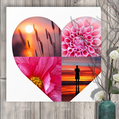 20 x 20 Heart Collage Acrylic Print - 4 photos