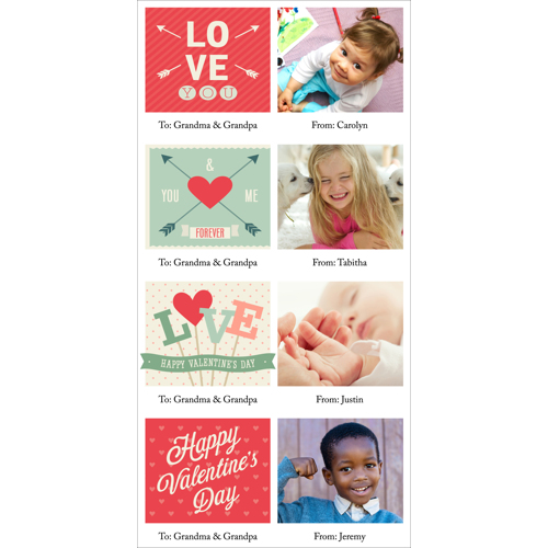 4x8 1 Sided - Mini Valentine Cards - B1