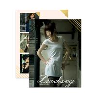 8.5 x 11 Headshot w/ Resume (2-Sided) Gold Photo Corners