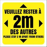 """Autocollant pour plancher Covid-19 jaune (12""""x12"""")"""