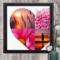 20 x 20 Framed Canvas Heart Collage - 4 photos